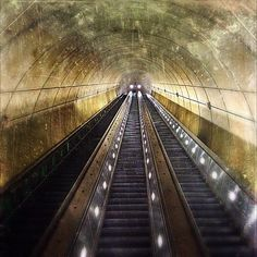 My favorite (and most liked) Metro photo I've posted on Instagram. 2000+ likes!     Wheaton Metro Station escalators in Washington, DC area: the longest escalators in the Western Hemisphere.     See the guy way up top? He's 230 feet away.