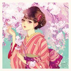 Image about girl in Random Anime/Manga Characters by Krastnjazzu Anime Kimono, Kimono Animé, Art Geisha, Geisha Kunst, Japan Illustration, Art Anime Fille, Anime Art Girl, Manga Girl, Anime Girls