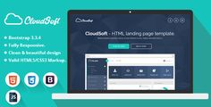 Cloud Soft is a clean and modern HTML landing page template with ultimate design and layout. Adaptive look for any business and specially crafted for SaaS, showcase, software and startup.