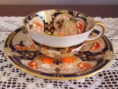 C 1916 Beautiful ROYAL CROWN DERBY Imari Cup and Saucer 4971