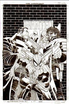 JOHN ROMITA JR SPIDER-MAN #89 COVER (PUNISHER & SHOTGUN) Comic Art