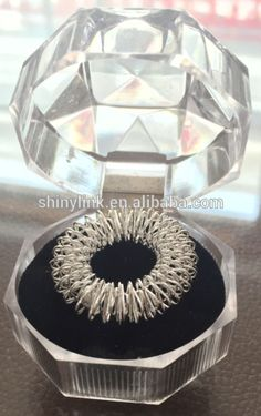 Silver/Gold color Finger massage ring (crystal box packing)