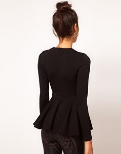 Image 2 of ASOS Top with Peplum in Bonded Fabric