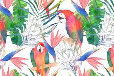 Tropical Seamless Pattern pattern seamless watercolor floral forest parrot pink abstract animal ara art background bird botanical bright colorful cute design drawing exotic fashion feather flower foliage garden green hawaii hawaiian illustration jungle leaf nature palm paper plant poster print red summer textile texture tree tropic tropical watercolour wild wrapping protea paradise