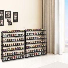 Rebrilliant 80 Pair Shoe Rack | Wayfair Shoe Storage Accessories, Bench With Shoe Storage, Shoe Rack With Shelf, Rack Shelf, Storage Boxes, Storage Racks, Easy Bathroom Updates, Simple Bathroom, Shoe Rack Wayfair
