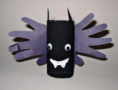 Handprint and Footprint Arts & Crafts: Adorable Toilet Paper Tube Handprint Bat Craft