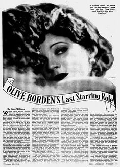 Olive Borden ~ Silent Star: 1948 Article ~ Olive Borden's Last Starring Role