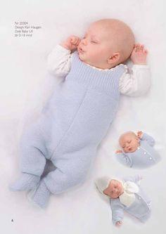 Hentesett i Baby ull i str 0-3(6-9)12-18 mnd. Det går med 3(4)5 nøster i bunnfargen til jakken, 3(4)5 nøster til buksen og 2 nøster til lue og skjerf. Pinner 2.5 og heklenål nr 2