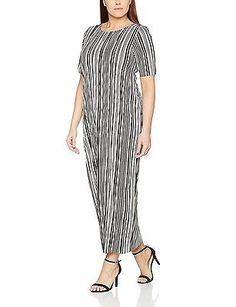 26, Multicoloured, Evans Women's Stripe Plisse Midi Dress NEW