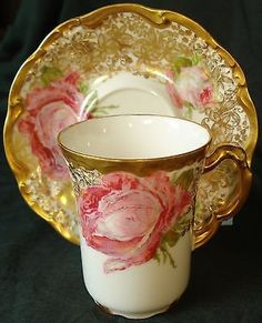 Antique Pouyat Limoges Cabbage Roses Cup & Saucer Extensive Lacy heavy Gold