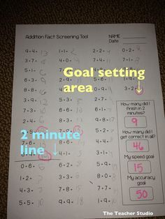 Great idea to include fill-in goals on worksheet. Allows students to self-monitor progress overtime.