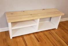 This fully custom shoe and boot rack with bench is made with solid construction using an all pocket hole system ensuring that no screw heads are visible and exposed. The rack uses a two shelve setup a Shoe Storage Bench Entryway, Shoe Shelves, Shoe Bench, Bench With Storage, Entryway Decor, Shelving, Boot Rack, Diy Wood Projects, Diy Furniture