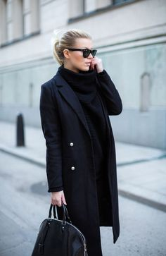 P.S. I love fashion by Linda Juhola. All black fall look. Black turtleneck with long black coat and black handbag.