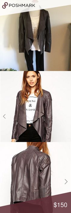 Leather Moto with Waterfall Front Quilt details on the sleeve. Never worn. ASOS Jackets & Coats