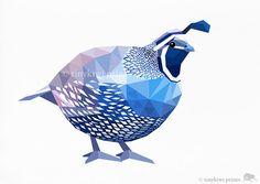 Quail Geometric print Original illustration by tinykiwiprints, Simple Artwork, Stained Glass Birds, Geometric Art, Geometric Animal, A Level Art, Gifts For Photographers, Nursery Wall Art, Nursery Ideas, Art Sketchbook