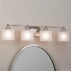 LOVE this Fluted Drum Shade Bath Strip - 4 Light clean and contemporary. $180