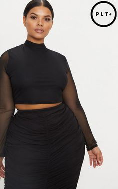 Plus Black Mesh Long Sleeve Crop Top. Shop the range of plus size today at PrettyLittleThing. Crop Top Outfits, Curvy Outfits, Skirt Outfits, Plus Size Outfits, Fashion Outfits, Mesh Long Sleeve, Long Sleeve Crop Top, Curvy Fashion, Plus Size Fashion