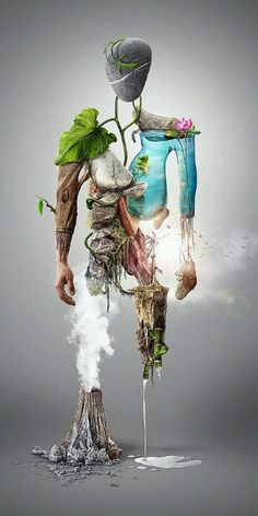 Today, we are presenting some creative photo manipulation that will not allure you but increase your inspirational power as well. Nature Man - Digital illustration - Photo Manipulation I am sure it'll have all what you want to desire. Fantasy Kunst, Fantasy Art, Art Environnemental, Inspiration Art, Wow Art, Environmental Art, Creative Photos, Art Design, Surreal Art
