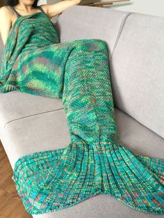 0fccfe85e9 Super Soft Crochet Knitted Fashion Mermaid Tail Shape Blanket For Adult -  GREEN Crochet Mermaid