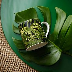 Buy House of Hackney Palmeral Print Mug, White/Green Online at johnlewis.com
