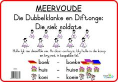 Meervoude (Dubbelklanke & Diftonge) Available in Afrikaans only Preschool Learning, Fun Learning, Funny Translations, Afrikaans Language, Phonics Song, Abc For Kids, Life Hacks For School, Learning Through Play, Worksheets For Kids