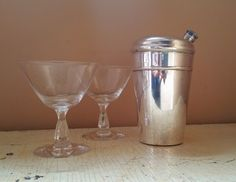 Silver Plate 16 Ounce Cocktail Shaker Art Deco Design by GladStoneatHome on Etsy