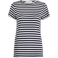 Zimmermann Crew Neck T (730 GTQ) ❤ liked on Polyvore featuring tops, t-shirts, navy striped tee, navy blue t shirt, striped top, navy blue crew neck t shirts and navy stripe t shirt