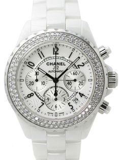Chanel White Ceramic Watch with Diamonds ~