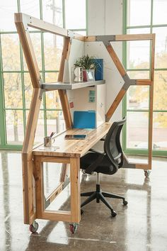 This modular office was made of salvaged wood from derelict buildings. - This modular office was made of salvaged wood from derelict buildings. Creative Office Space, Cool Office, Office Workspace, Office Decor, Office Ideas, Office Designs, Modular Furniture, Furniture Design, Office Furniture