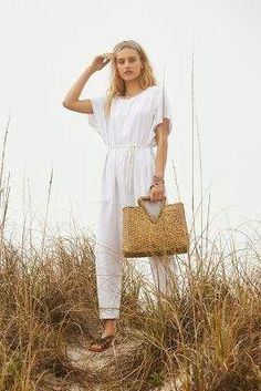 Bali Classic Tote Bag By Anthropologie, commission link Romper Pants, Jumpsuit, Bali, Anthropologie, Straw Visor, Spring Bags, Triangle Shape, Blouse Outfit, Tank Top Shirt