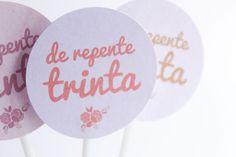 Papelaria 30 anos rosa + dourado |  Festa, Papel e Tesoura | Birthday, party, printable,  decor, pink, gold, 30th, toppers