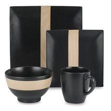 dinnerware black 16 piece dinnerware set by studio nova modern black - Modern Dinnerware