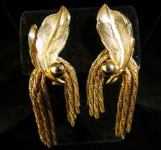 Vintage Earrings Gold Tone Leaves and Tassels Marked Pat Pend | eBay