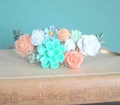 FREE Shipping Mint Peach Wedding Hairband Headband Bridal Fascinator Mint Green Coral Floral Flower Shabby Chic Garden LOTR Arwen Grecian