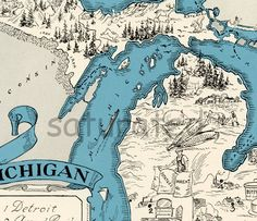 Michigan Map Vintage - High Res  DIGITAL IMAGE of a 1930s Vintage Picture Map - Instant Art - Turquoise Aqua - Charming & Fun. $5.00, via Etsy.