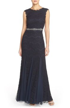 Betsy & Adam Embellished Waist Lace Gown available at #Nordstrom