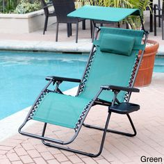 Oversized Zero Gravity Sunshade Chair With Drink Tray (set Of 2)