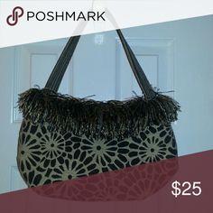 Original Bagolitas purse New, never used, black with tan, matching fringe, 12x8 Bagolitas Bags