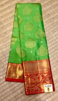 Designer saree from prakashsilks. South Silk Sarees, South Indian Sarees, Indian Silk Sarees, Pure Silk Sarees, Kanjipuram Saree, Organza Saree, Cotton Saree, Green Saree, Pink Saree