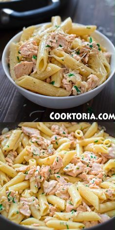 Creamy Salmon Pasta I love cooking with salmon. It is so tender and flavorful. I have never been disappointed with a salmon dish. This Creamy Salmon Pasta recipe comes straight from Italy. My mom. Salmon Pasta Recipes, Creamy Salmon Pasta, Seafood Recipes, Pasta With Smoked Salmon, Pasta With Tuna, Salmon Pasta Bake, Fish Pasta, Meat Recipes, Healthy Vegetarian Recipes