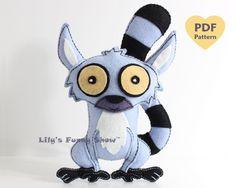 Lemur Sewing Pattern  Felt PDF patternInstant by LilysFunnyShow