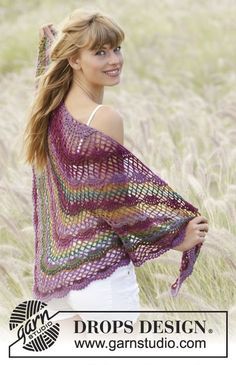 "Summer Fling - Gehaakte DROPS omslagdoek met waaierpatroon en l-lussen van ""Delight"". - Free pattern by DROPS Design"