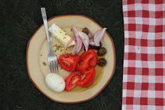 """Χωριατικη Σαλατα,  all time classic Greek Dish """"Greek Salad"""" with aromatic and pungent  Early Harvested NOTIO Extra Virgin Olive Oil / Greek Olives, Olive Oil, Ice Cream, Cooking, Breakfast, Desserts, Food, No Churn Ice Cream, Kitchen"""
