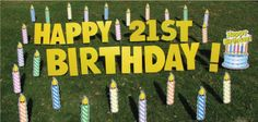 candles yard greetings cards lawns signs happy birthday over hill