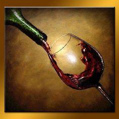 Wholesale Wonderful Still Life Wine Glass Painting on Canvas - China Wine…