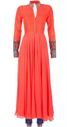 Neon coral with blue tilla cuff kurta set by MANISH MALHOTRA. Shop at http://www.perniaspopupshop.com/designers-1/manish-malhotra