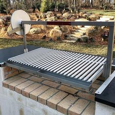 One of if not the first Gaucho Grill installed in Charlotte.True Argentinian style cooking in your personal outdoor kitchen! Outdoor Bbq Kitchen, Outdoor Barbeque, Backyard Barbeque, Outdoor Oven, Outdoor Kitchen Design, Outdoor Cooking, Barbecue Grill, Argentinian Bbq, Argentine Grill