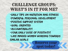 I just want to share a little bit about our challenge groups we have going on! I ABSOLUTELY love these groups! Not only do you have a group of like minded women or people going for the same goal but they are cheering each other on and sharing what is working for them and what is hard. They share their goals, the milestones, the good times and bad. It is an amazing feeling to check into these groups and see the confidence growing little by little every day! ............