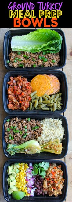 Easy Ground Turkey Meal Prep Bowls: 4 Ways - these healthy meal prep recipes com. Easy Ground Turkey Meal Prep Bowls: 4 Ways – these healthy meal prep recipes come together so qui Meal Prep Bowls, Easy Meal Prep, Healthy Meal Prep, Healthy Eating, Budget Meal Prep, Budget Cooking, Eating Vegan, Vegetarian Cooking, Healthy Food