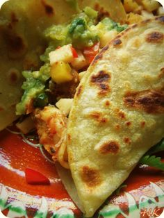 Fish and Shrimp Tacos with Jicama Pineapple Salsa - Hispanic Kitchen Seafood Recipes, Mexican Food Recipes, Spanish Recipes, Cooking Recipes, Spanish Food, Cooking Ideas, Pork Recipes, Recipies, Quesadillas